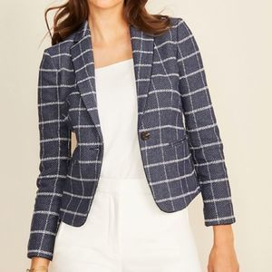 Ann Taylor Newbury Windowpane Button Blazer sz 10